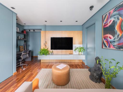 Apartamento de 40m² com a predominância do azul