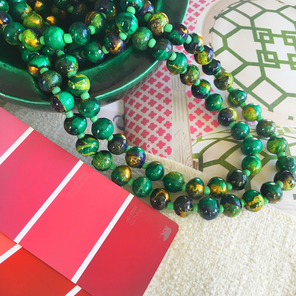 My green beads and vintage ashtray