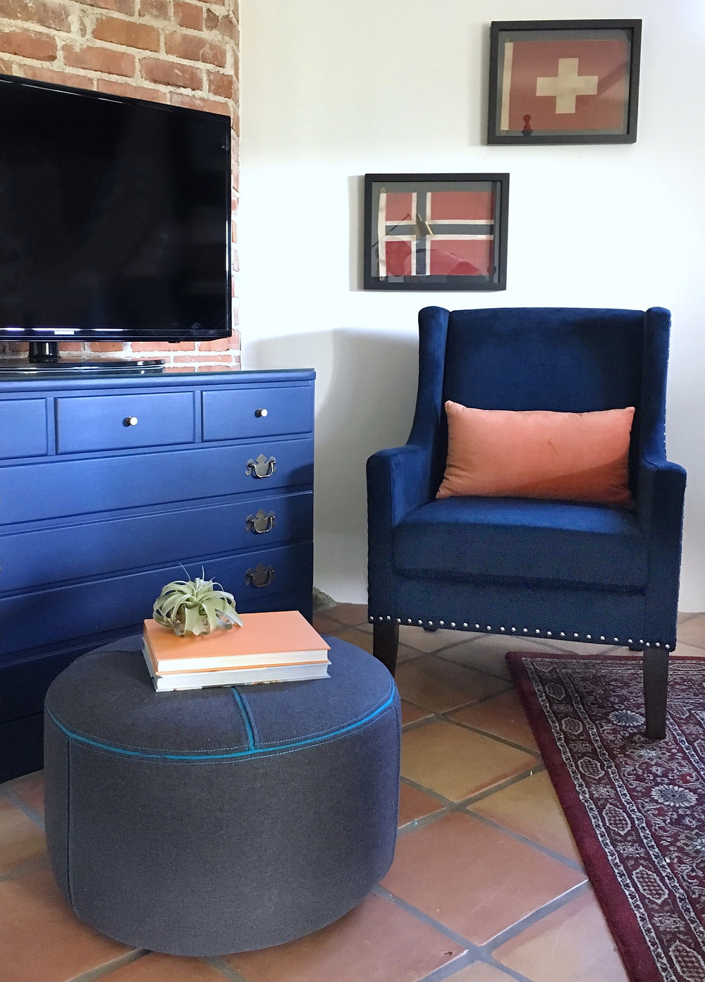 After: Vintage Dresser in Federal Blue