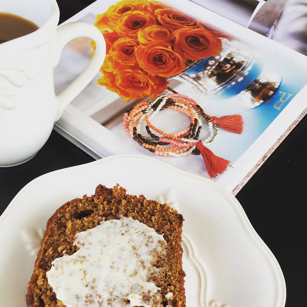 Coffee and pumpkin bread