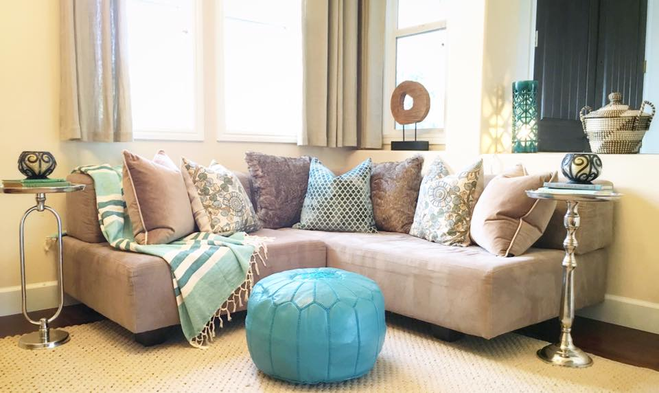 Leather poufs were added for kids to kick their feet up or for additional seating.