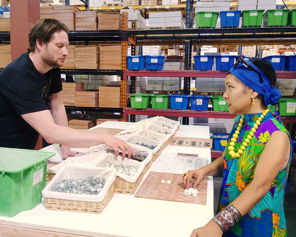 Discussing tile design with cofounder, Dave Cohen