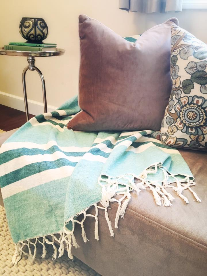 New throw blanket and pillows.