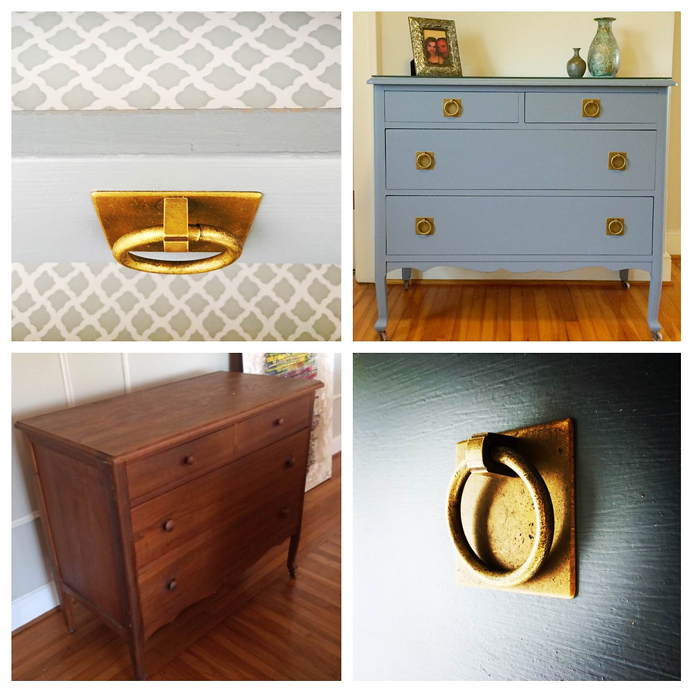 Grey dresser with brass hardware