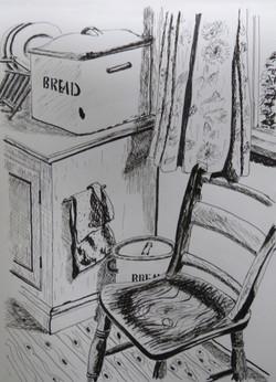 Pencil sketch of a friend's kitchen