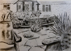 Front garden, East Sussex - ink drawing