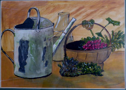 Study of a basket of radishes with watering can