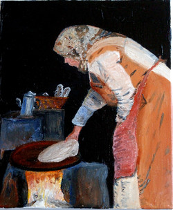 The Bread Maker -  Based on a photo taken in a village in the Atlas mountains, Morocco