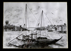 Pencil and charcoal sketch of the estuary at Porto, Portugal.