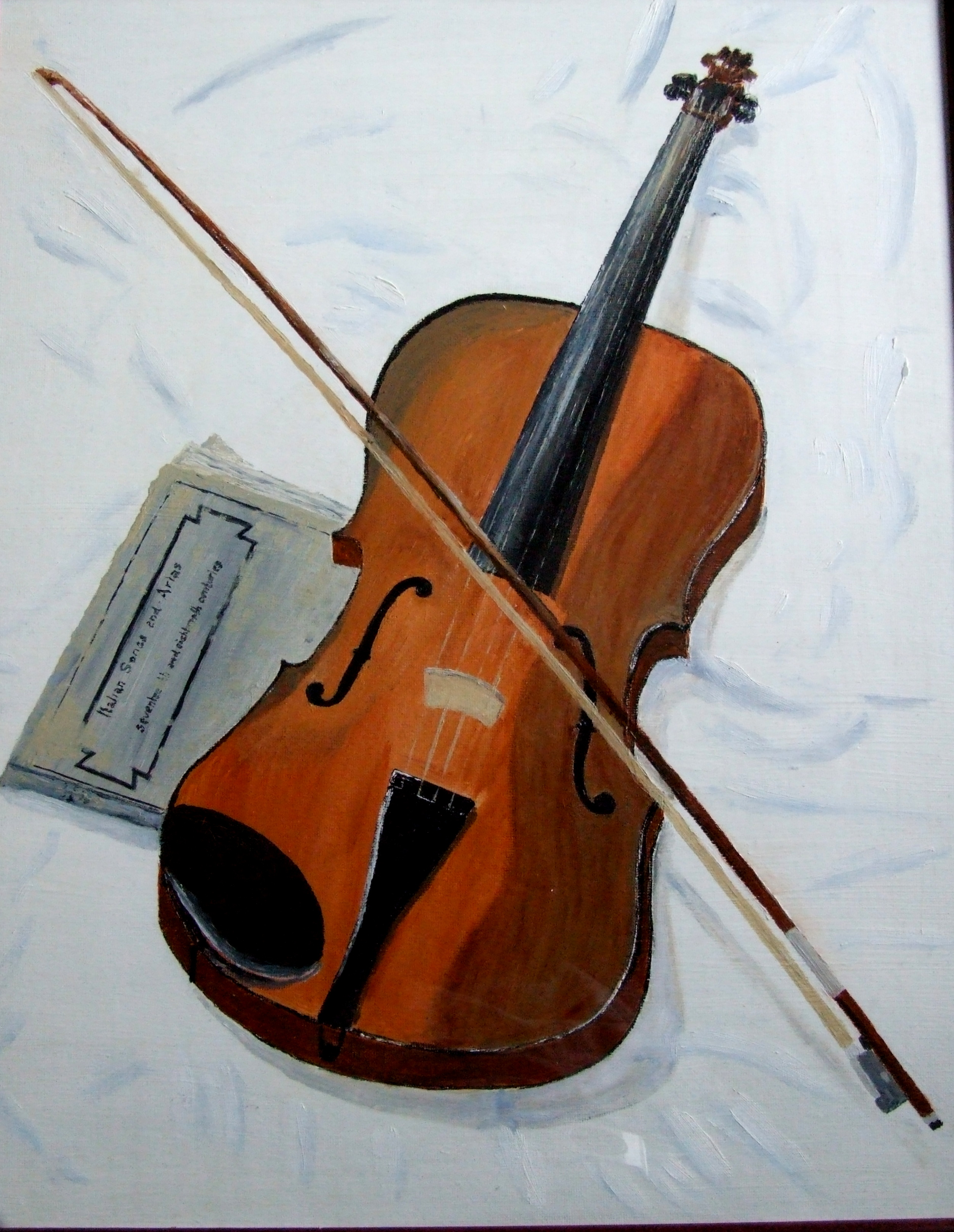 Study of violin entitled Break From Rehearsal