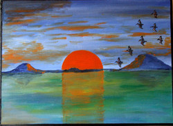 Sketch painting of surreal sunset