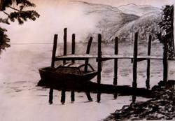 Sunlit lake - charcoal sketch