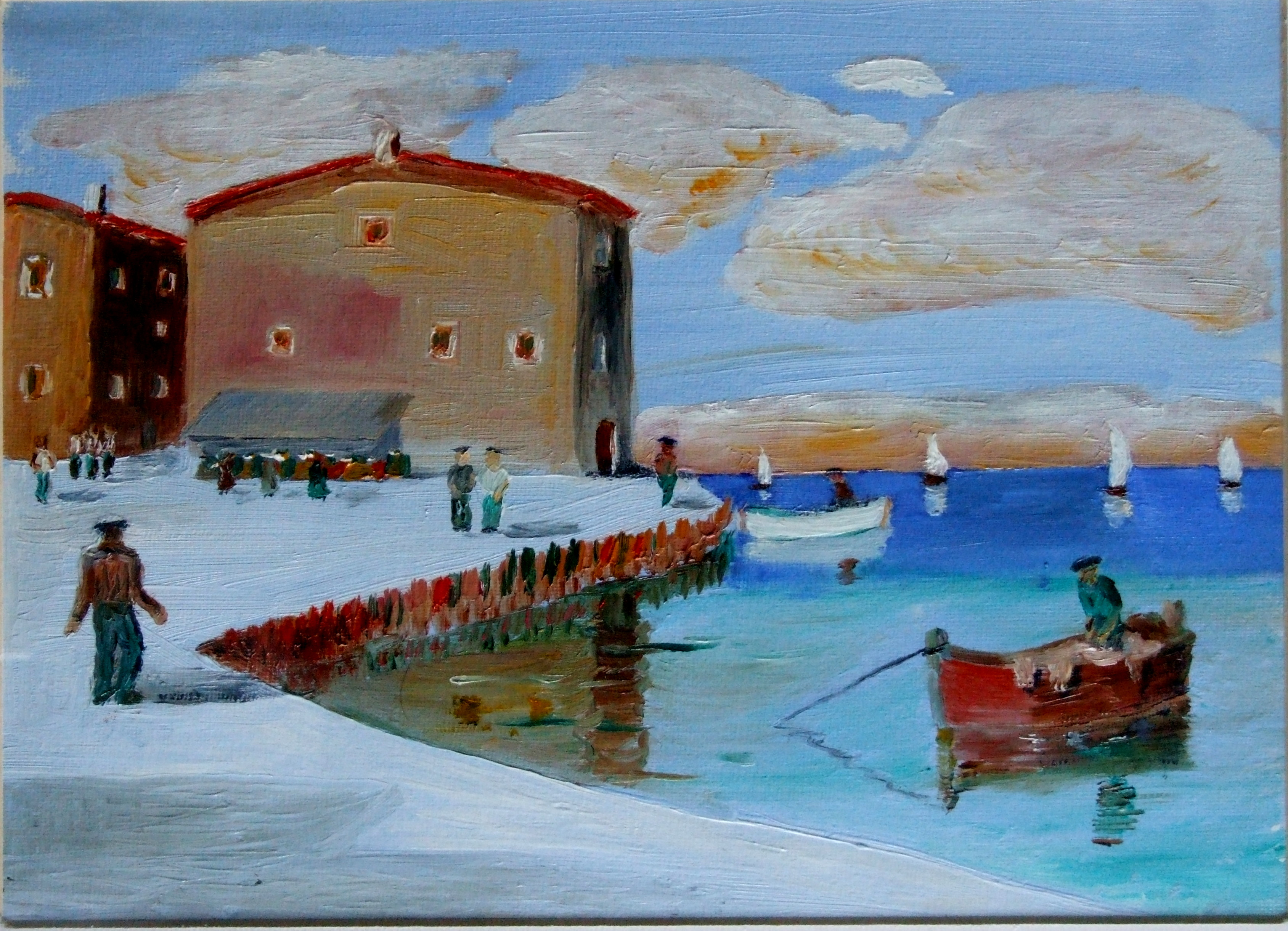 Study of village marina broadly copied from a painting by unknown artist