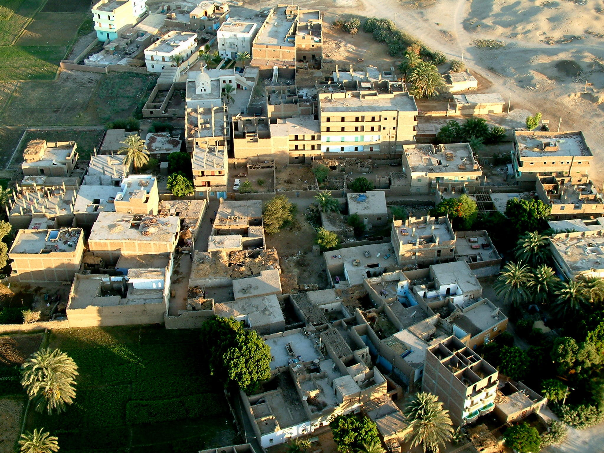 Balloon view of small town in Egypt