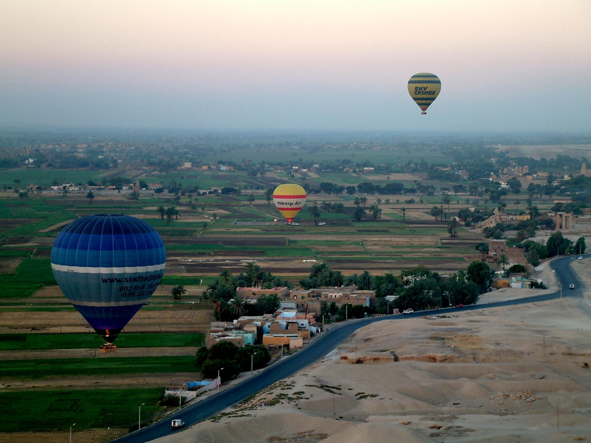 Hot air balloon over farmland in Egypt