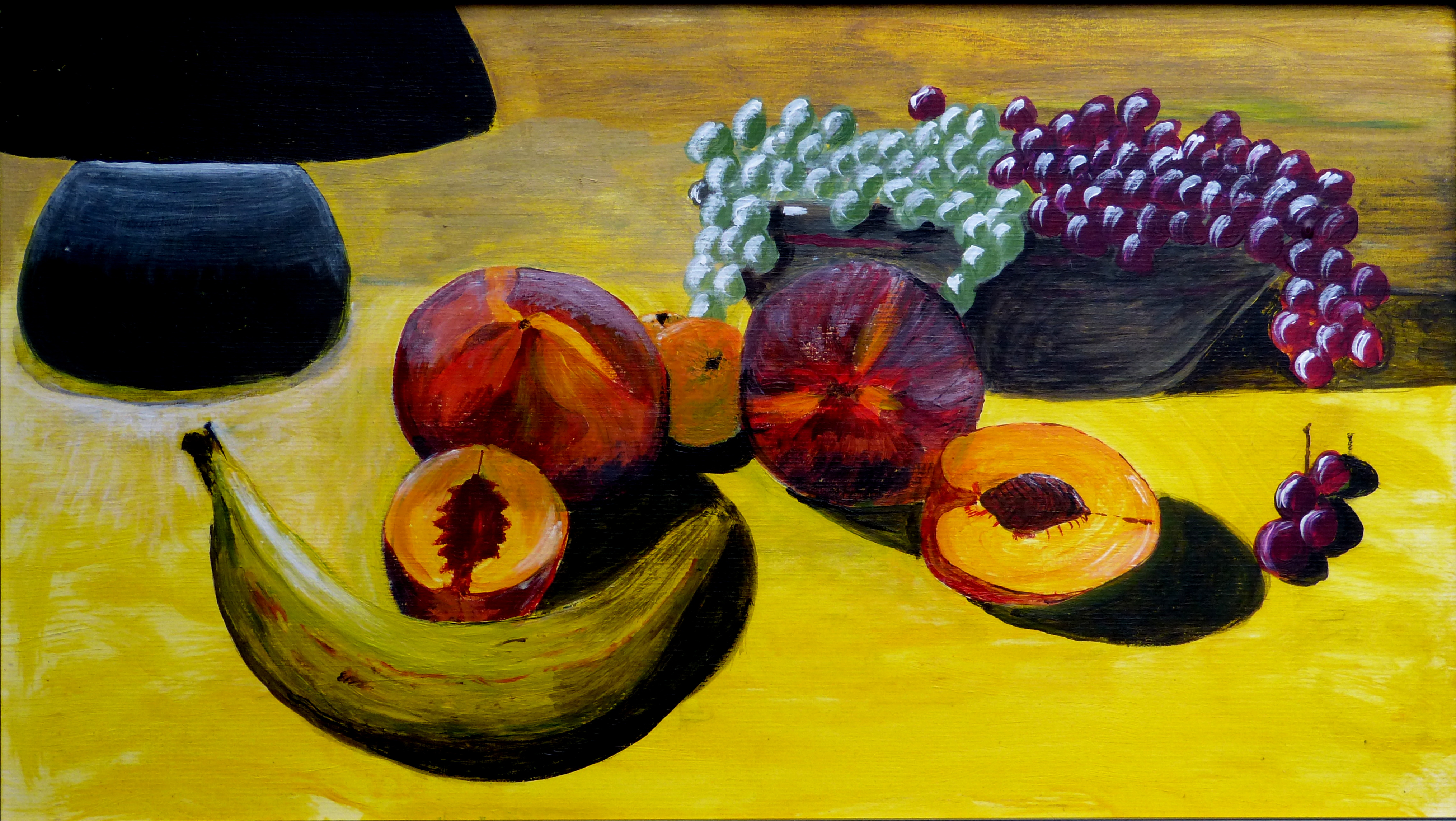 Still life of fruit under lamp light