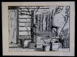 Pencil sketch of garden chair