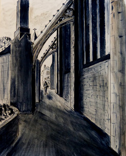 Cloisters- ink drawing