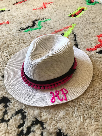 Personalised, hand embroidered Pom Pom Trilby- TWO LETTERS
