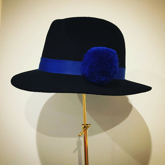 Electric Blue Pom Trilby