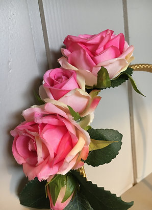 Pink Rose with golden Alice Band