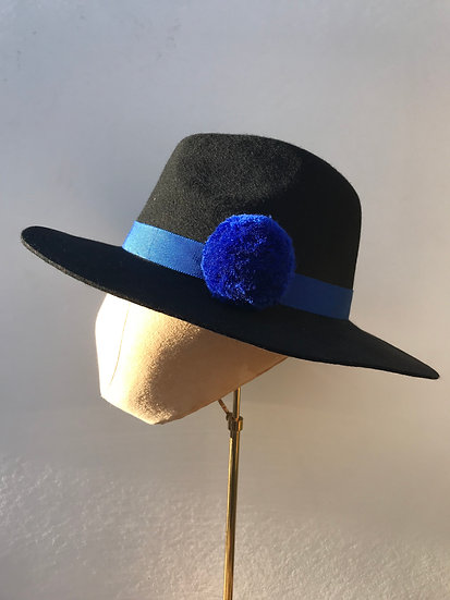 Electric Blue Pom Fedora