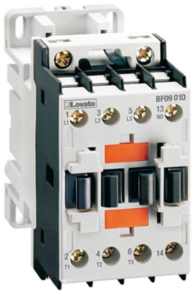Lovato Electric 3-Pole Contactor, IEC 9A, DC Coil 60Hz, 24VDC, 1NO Aux