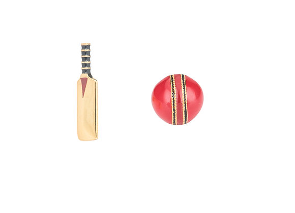 Pitch and Pat the Playful Cricket Ball and Bat Cufflinks