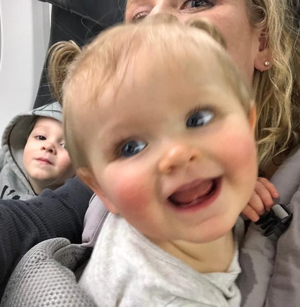 Josie & Frankie's first plane ride