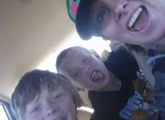 Heather, Brenden, and Cameron Driving to CA.