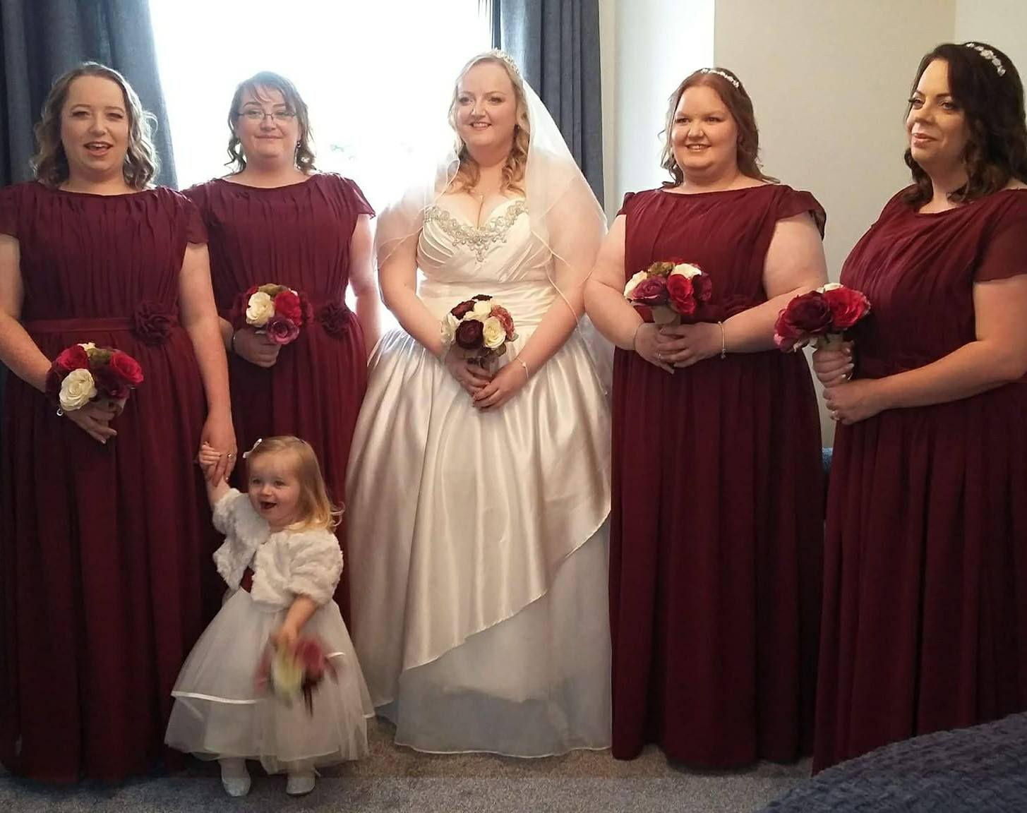 Custom bridal gown and bridesmaids
