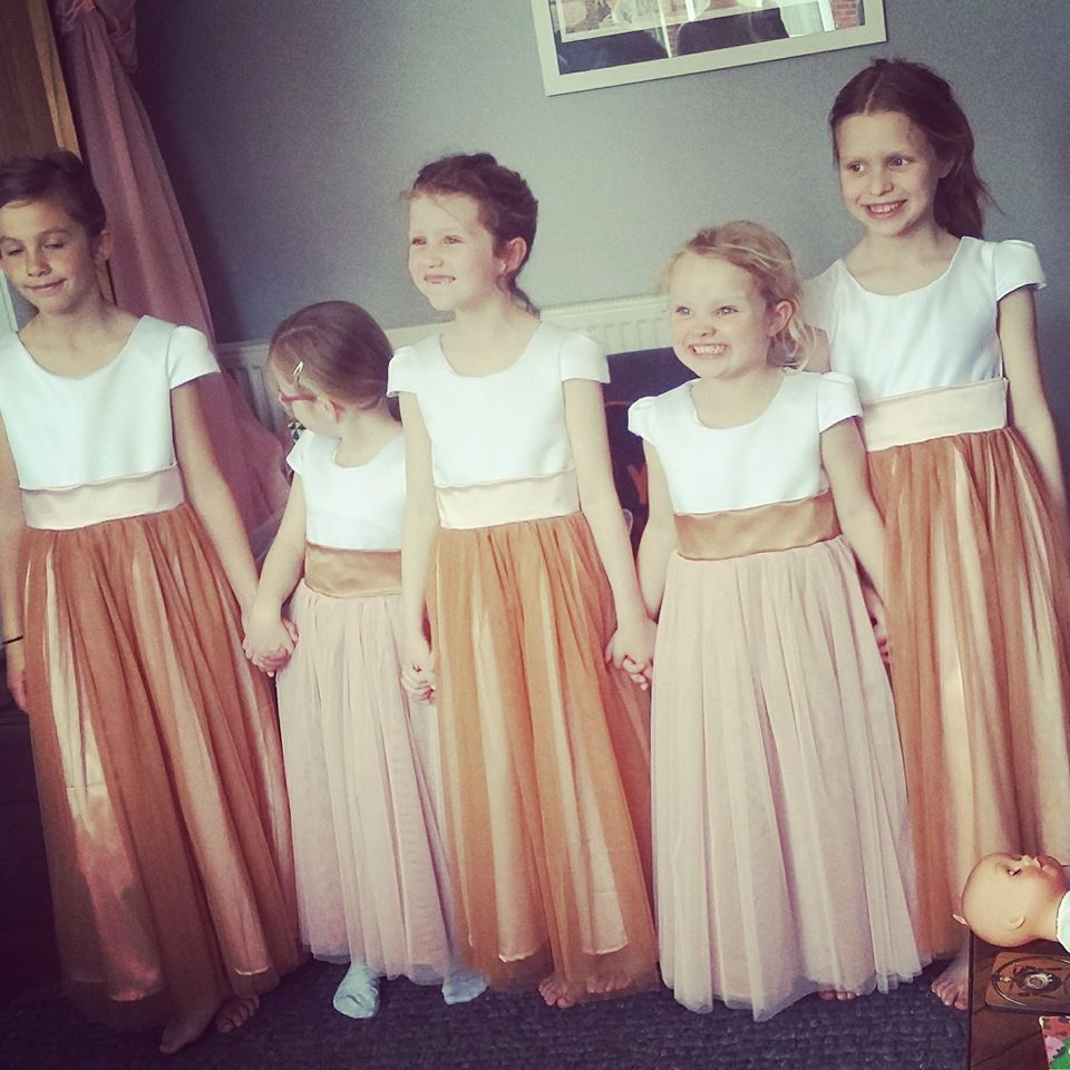 White, Copper and Blush flower girls