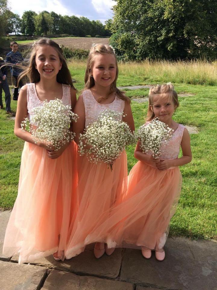 Peach and Ivory petal dresses