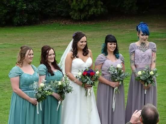 Bespoke dresses in Jade and Mauve