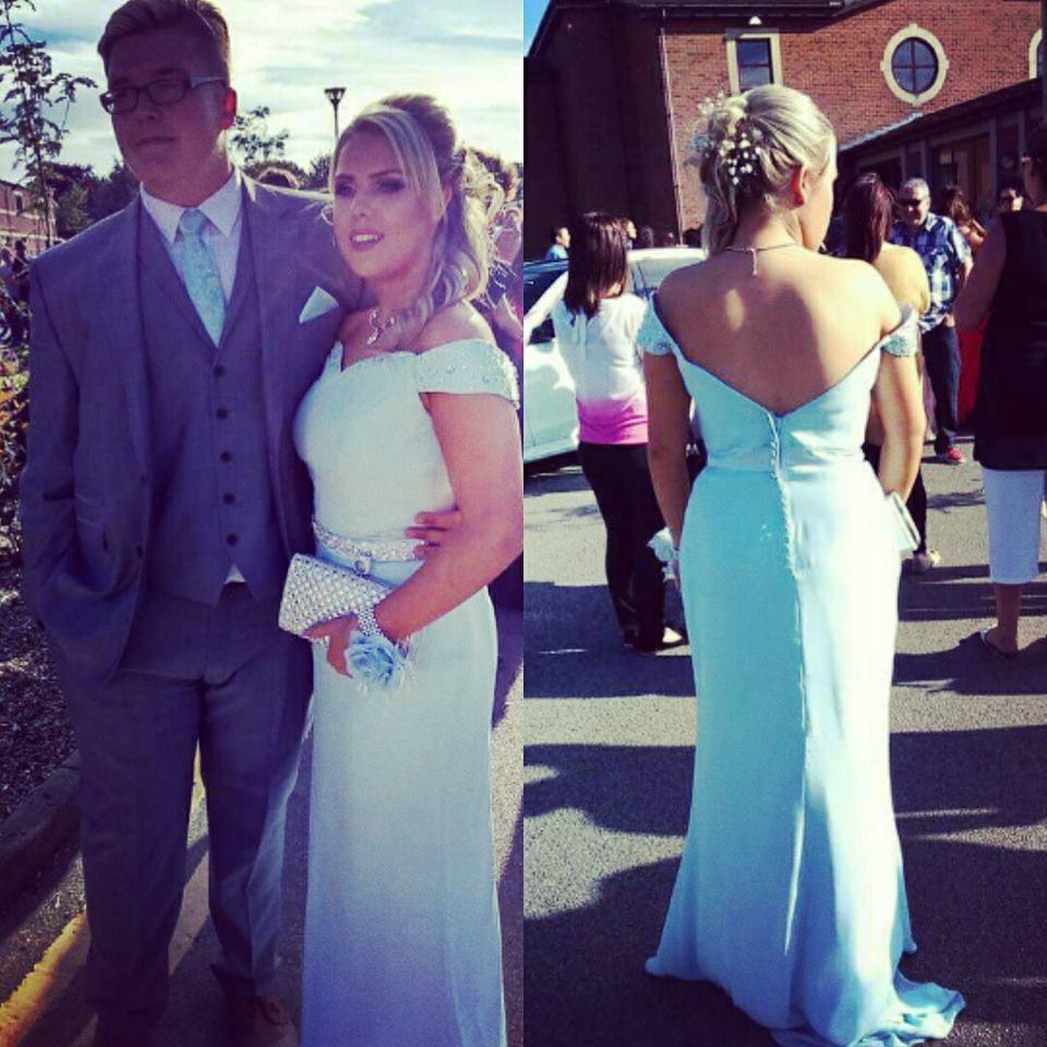 Bespoke blue Bardot prom dress