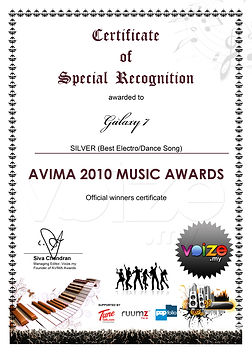 Galaxy7 Avima Music Award 2010 Electro/Dance Song Second Place