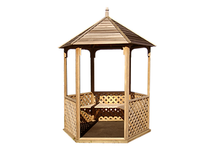 Wooden Garden Gazebo with trellis sides and cedar roof