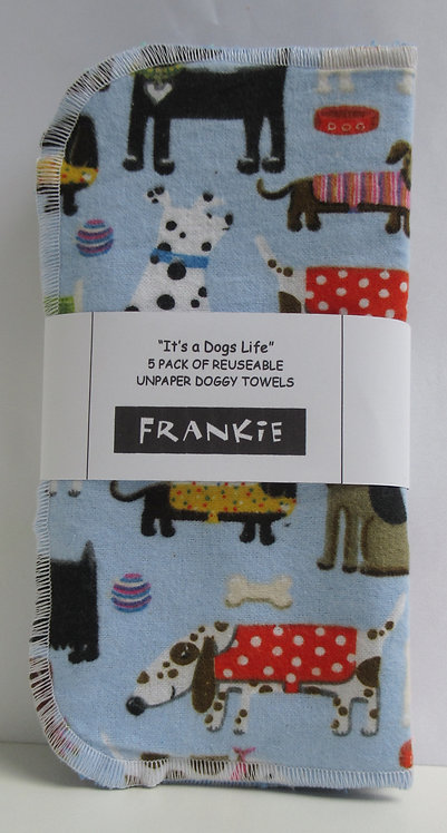 Doggy Reuseable Unpaper Towels (5 pack) It's a Dogs Life