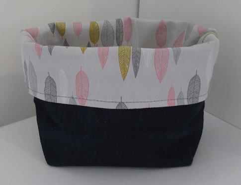 Fabric Basket Bag Feather