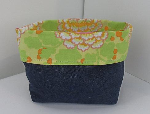 Fabric Basket Bag Orange Flower