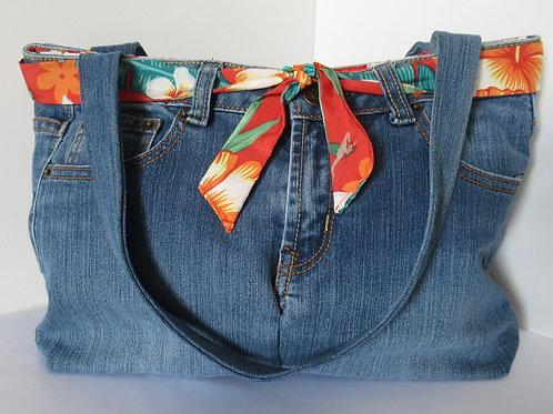 Repurposed Denim Handbag Orange Hula Girl