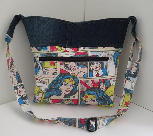 Remember Me Repurposed Denim Handbag Wonder Woman