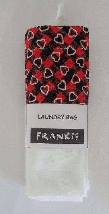 Laundry Bag Black and Red Hearts