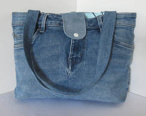Repurposed Denim Handbag Big Butterfly