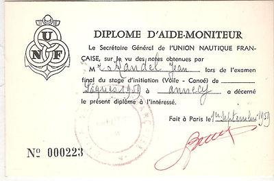 (103)Diplome JCK aide moniteur UNF 1959