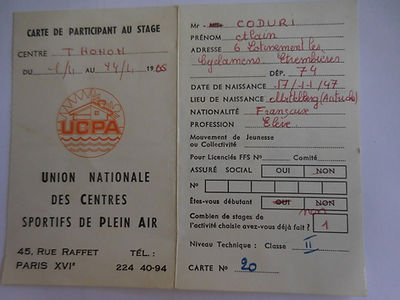 (92) Carte de Participation, stage de Th