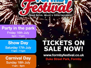 Formby Festival Tickets are now on sale but numbers limited - First come first served basis