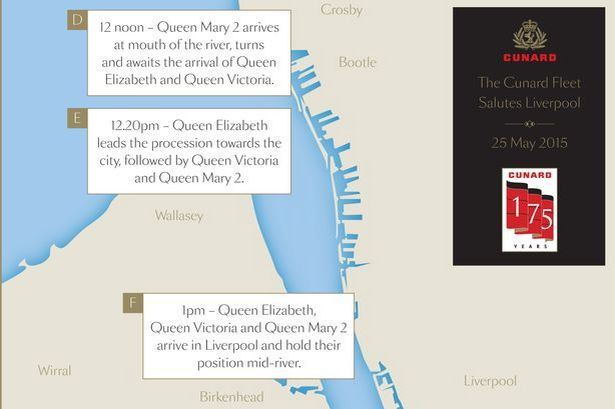 QUEEN-04 Graphic showing how the Cunard Fleet will salute Liverpool on May 25 20