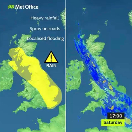 Yellow weather warning from the Met Office covering Sefton