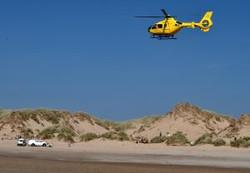 The air ambulance at Formby Beach